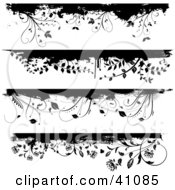 Four Black And White Floral Grunge Borders Or Headers On White