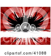Clipart Illustration Of A Silhouetted Concert Crowd Over Black Wings Speakers A White Grunge Bar And A Red Burst