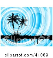 Swirling Blue Background Silhouetting Palm Trees And A Black Grunge Bar