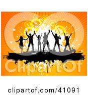 Clipart Illustration Of A Black Silhouetted Dancers With Their Arms In The Air On A Grunge Bar With An Orange Background
