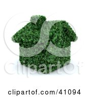 Clipart Illustration Of A Green House With A Chimney Made Of Grass