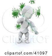 White Character Doctor Holding A Needle And Syringe Vaccine In Front Of Virus Bacteria