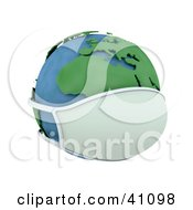 Clipart Illustration Of A 3d Globe Wearing A Face Mask Europe Featured