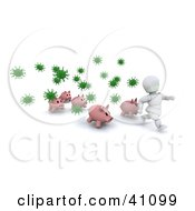Clipart Illustration Of A White Character And Pigs Running From Green Virus Bacteria by KJ Pargeter