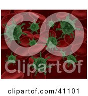 Clipart Illustration Of A Background Of Green Bacteria Attacking Red Blood Cells