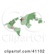 Clipart Illustration Of A 3d Green World Map With Red H1N1 Virus Outbreaks by KJ Pargeter