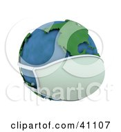 Clipart Illustration Of A 3d Globe Wearing A Face Mask The Americas Featured