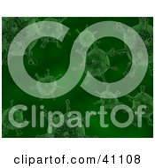 Clipart Illustration Of A Background Of Green Bacteria by KJ Pargeter