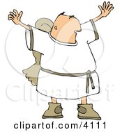 Religious Male Angel With Wings Trying To Grab Everyones Attention Clipart by Dennis Cox