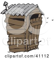 Clipart Illustration Of A Stinky Wooden Outhouse With Flies