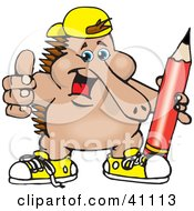 Clipart Illustration Of An Outgoing Echidna Wearing Shoes And A Hat And Holding A Pencil