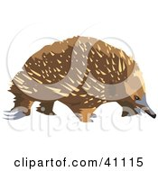 Clipart Illustration Of A Wandering Brown Echidna by Dennis Holmes Designs