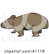 Clipart Illustration Of A Wandering Brown Wombat In Profile by Dennis Holmes Designs