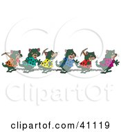 Clipart Illustration Of A Chain Gang Of Tasmanian Devils Carrying Tools And Walking In Shackles by Dennis Holmes Designs