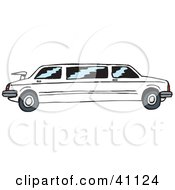 Clipart Illustration Of A Long White Stretch Limo With Tinted Windows by Dennis Holmes Designs