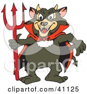 Clipart Illustration Of A Tazmanian Devil In A Red Cape Holding A Pitchfork by Dennis Holmes Designs