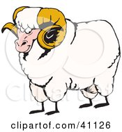 Clipart Illustration Of A Tough Ram With Curly Horns And White Fleece