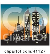 Clipart Illustration Of A Silhouetted City Skyline With Illuminated Windows Behind A Sunset Sky With The Moon by Dennis Holmes Designs