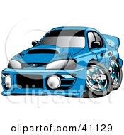 Clipart Illustration Of A Turbocharged Blue Subaru Impreza WRX Car