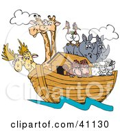 Clipart Illustration Of Pairs Of Giraffes Birds Rhinos Sheep And Monkeys On Noahs Ark
