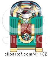 Clipart Illustration Of A Colorful Retro Jukebox