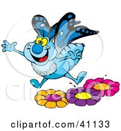 Clipart Illustration Of A Happy Blue Butterfly Leaping Off Of Colorful Flowers In A Garden
