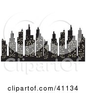 Clipart Illustration Of A Silhouetted Skyscrapers Skyline With City Lights by Dennis Holmes Designs