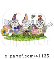 Clipart Illustration Of A Bee Flying Over Three Garden Gnomes Guarding Flowers by Dennis Holmes Designs