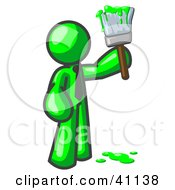 Clipart Illustration Of A Lime Green Man Painter Holding A Dripping Paint Brush