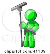 Lime Green Man Window Cleaner Standing With A Squeegee