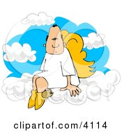 Male Angel With Wings Sitting On Clouds