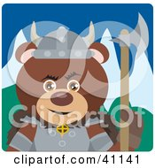Clipart Illustration Of A Brown Teddy Bear Knight With An Ax
