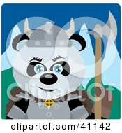 Clipart Illustration Of A Giant Panda Bear Knight With An Ax
