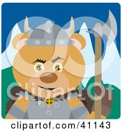 Clipart Illustration Of A Teddy Bear Knight With An Ax