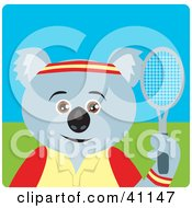 Clipart Illustration Of A Koala Bear Tennis Character by Dennis Holmes Designs