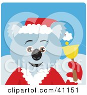 Clipart Illustration Of A Christmas Koala Bear Charity Bell Ringer Characte