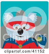 Clipart Illustration Of A Male Koala Bear Super Hero Character