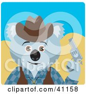 Clipart Illustration Of A Koala Bear Cowboy Character by Dennis Holmes Designs