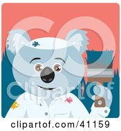 Clipart Illustration Of A Koala Bear Painter Character by Dennis Holmes Designs