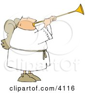 Male Angel With Wings Blowing A Horn Clipart by djart