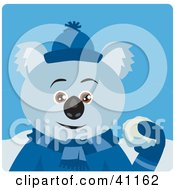 Clipart Illustration Of A Koala Bear Character Playing In The Snow