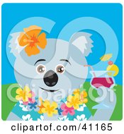 Clipart Illustration Of A Male Koala Bear Hawaiian Tourist Character by Dennis Holmes Designs