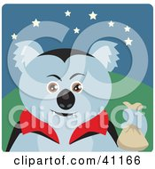 Clipart Illustration Of A Koala Bear Vampire Halloween Character by Dennis Holmes Designs