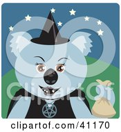 Clipart Illustration Of A Koala Bear Witch Halloween Character