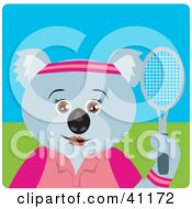 Clipart Illustration Of A Koala Bear Female Tennis Character by Dennis Holmes Designs