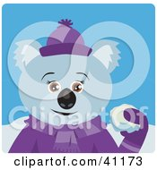 Clipart Illustration Of A Female Koala Bear Character Throwing Snow Balls