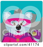 Clipart Illustration Of A Female Koala Bear Super Hero Character