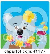 Clipart Illustration Of A Female Koala Bear Hawaiian Tourist Character by Dennis Holmes Designs