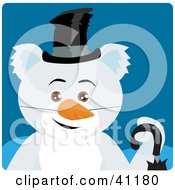 Clipart Illustration Of A Koala Bear Snowman Character by Dennis Holmes Designs
