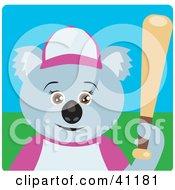 Clipart Illustration Of A Koala Bear Female Baseball Player Character